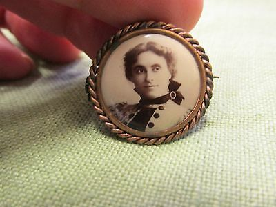Antique Victorian Photo Mourning Pin with Twist Border. Lady with Velvet Bow