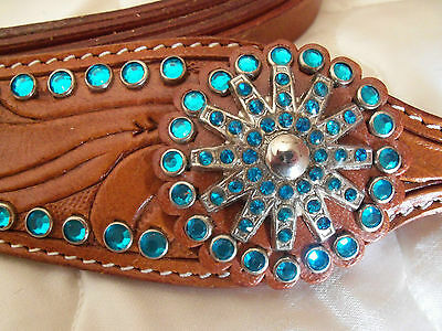 Western Show/rodeo-Turquoise Rhinestone, Bridle, Reins & Breast Plate Set