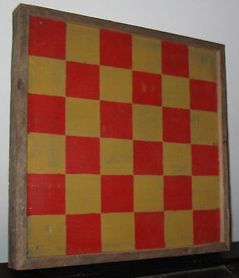 Vintage Double Sided Wooden Gameboard/checkerboard Red&mustard/black&brown Nice