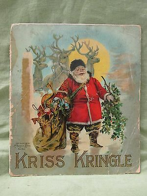 Antique 1897 McLoughlin Bros. KRISS KRINGLE Christmas Book Color