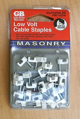 "50 - 3/16"" Plastic Electrical Low Voltage Wire Cable Staples, Concrete Cement"