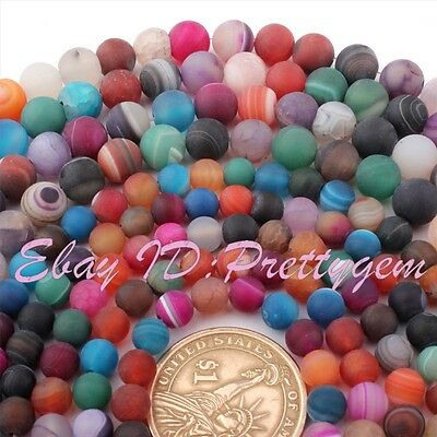 "Round Agate Mixed Color Stripe Frost Matte Gemstone Beads Strand 15"" 6mm 8mm"