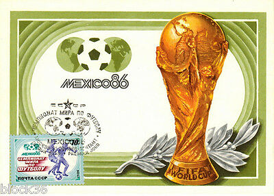 1986 Russian FDC Maxi-card 86 WORLD SOCCER CHAMPIONSHIP with blue colour stamp