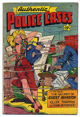 AUTHENTIC POLICE CASES 8 (1950 St. John) Classic MATT BAKER Cover; RARE
