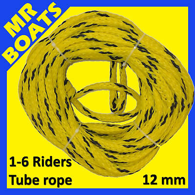 1-6 Riders SKI TUBE ROPE 60ft 12mm ✱HEAVY DUTY✱ 4000K Rated BISCUIT FREE POSTAGE