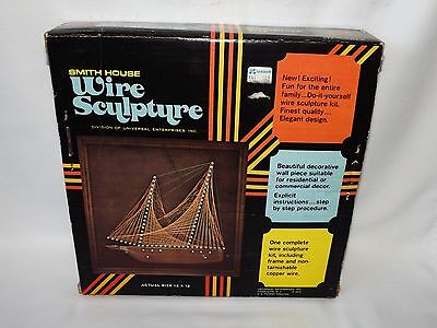 """1972 Smith House/Universal Wire & Wood Sculpture Kit Two Mast Schooner 12"""" X 12"""""""