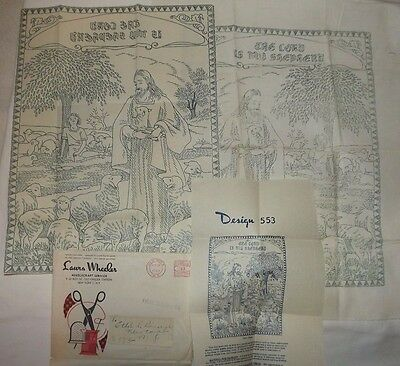 Vtg Laura Wheeler Design Pattern 553 The Lord Is My Shepherd Transfer & Stamped