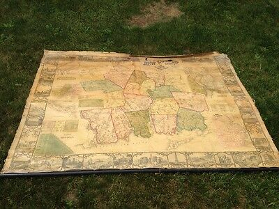 Huge Antique Wall Map Of New London County CT 1854