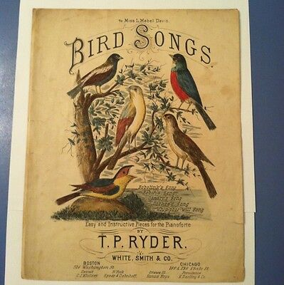 Antique Sheet Music Bird Songs 1882 Hand Colored Bird Lithograph Cover