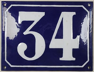 Large old blue French house number 34 door gate plate plaque enamel steel sign