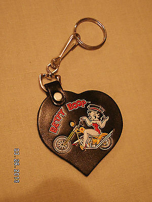Betty Boop On Motorcycle Key Chain Leather Heart Heart Shaped