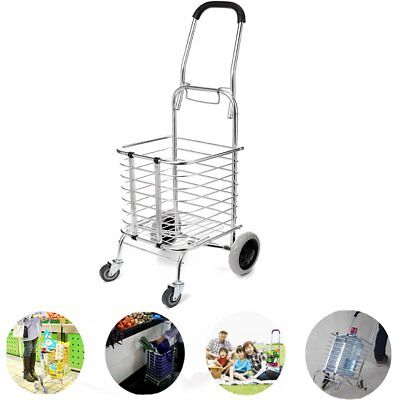 Aluminum Folding Portable Shopping Grocery Basket Cart Trolley W/ Swivel Wheel