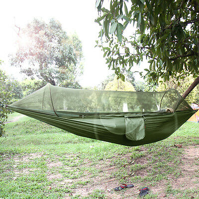 Outdoor Portable Camping Jungle Parachute Fabric Hammock Bed With Mosquito Net