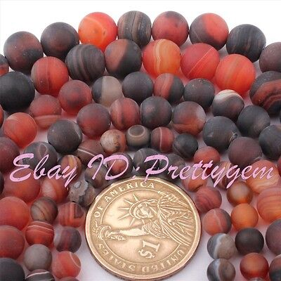 "Round Dream Agate Stripe Frost Matte Gemstone Beads Loose Strand 15"" 6,8,10mm"