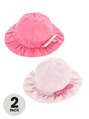 Girls Two Pack Sun Hats In Pink Size 4-7 Years