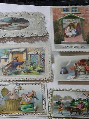Antique Original Victorian Christmas cards not repro x6