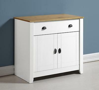 Ludlow White & Oak Effect 2 Door 1 Drawer Sideboard *free Next Day Delivery