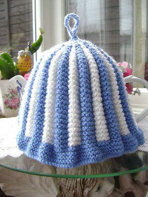 New Hand Knitted Vintage Style  Blue/White Tea Cosy ~Large Size