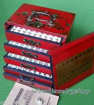 Collectible Chinese Antique Style 144 Mahjong Game Set W.and Case box