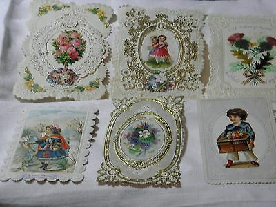 Antique Victorian 6 paper lace greetings cards valentines christmas new year