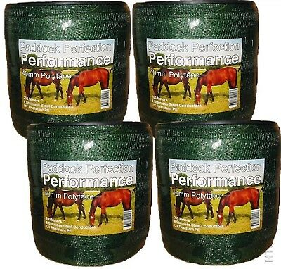 4x40MM x200M ROLLS PERFORMANCE GREEN ELECTRIC FENCE / FENCING TAPE +FREE JOINERS