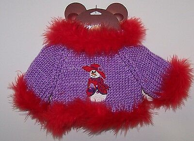 "Sweet Teddy Bear Sweater w/Snowman Red Hat Fits Most 12"" to 16"" Feather Trim"