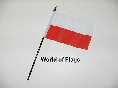 "POLAND HAND WAVING FLAG 6"" x 4"" Polish Crafts Table Desk Display"