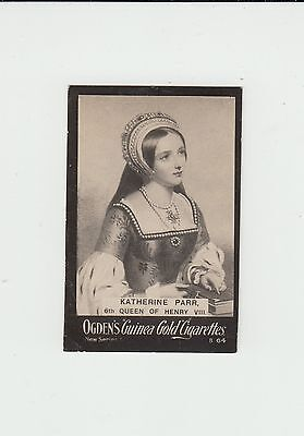 Katherine Parr : Wife of King Henry VIII : UK cigarette card circa 1902