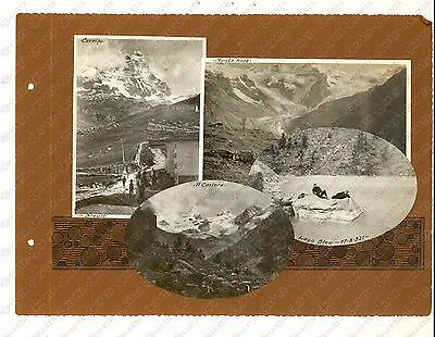 1921 CERVINO - MONTE ROSA - LAGO BLU Escursionisti in gita *Collage 4 foto