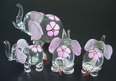 Glass ELEPHANT FAMILY 4 Glass Animals Pink Painted Glass Ornaments Curio Gifts