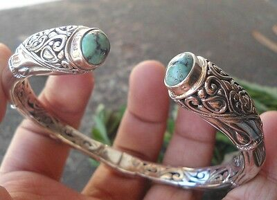 925 Sterling Silver-BB10-Balinese Hand Made Bangle With Turquoise