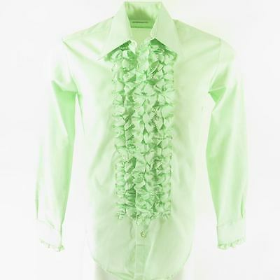 Vintage 60s Ruffle Tuxedo Shirt Mens S 4 Deadstock After Six Dress Union Made