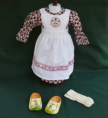 "American Girl 18"" Retired Kirsten BAKING OUTFIT w WOODEN SHOES and SOCKS REPRO"