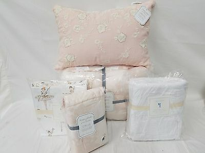 Pottery Barn Kids Monique Lhuillier Ethereal Lace TWIN Quilt Sham Sheets 7pc Set