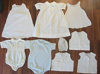 Vintage Baby Collection Of 9 Pieces/ Estate Find/ Rompers, Shirts, Slips, & More