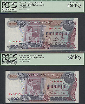 TT PK 15a CAMBODIA 100 RIELS PCGS 66 PPQ GEM NEW SET OF TWO BANKNOTES!