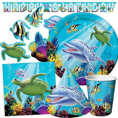 OCEAN PARTY Birthday Party Range - Dolphin FishTableware & Decorations