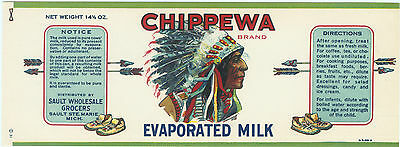 Can Label Vintage 1920S Chippewa Milk American Indian Michigan Moccasin Arrow