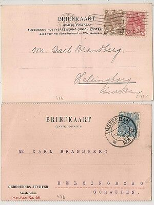 Pays Bas Netherlands 2 Briefkaarts Amsterdam To Sweden. L486