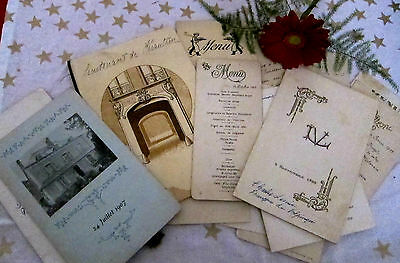 c.1900 French Wedding/Military Menus/Collection