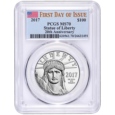 2017 $100 American Platinum Eagle PCGS MS70 First Day of Issue Label