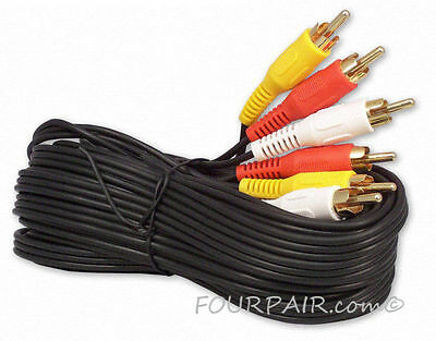 3 Pack Lot - 15FT Triple 3 RCA Red White Yellow Composite Audio Video Cable Gold
