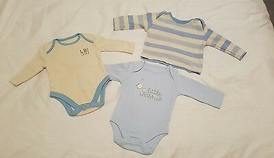 **BABY BOYS SUPER SOFT 100% COTTON LONG SLEEVE TOP & VESTS *** 0-3 months. NEW!
