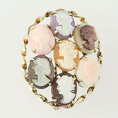 Vintage Brooch - 14k Gold Carved Shell & Mother of Pearl Cameos