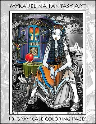 Myka Jelina Art Coloring Pages Bohemian Girls Gypsy Fairy Angels Grayscale
