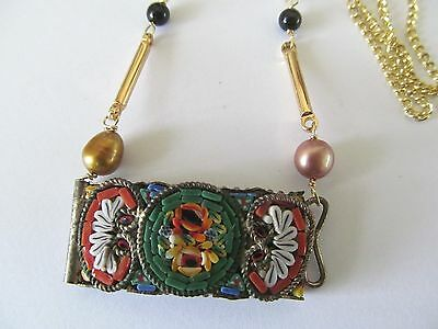 VINTAGE ITALIAN MICRO MOSAIC w/ONYX-PEARL BEADS-GOLD STEM PENDANT GOLD NECKLACE