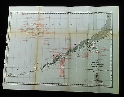 1891 Map Position of Sealing Vessels Seized by US Gov't Bering Sea Aleutian Isle