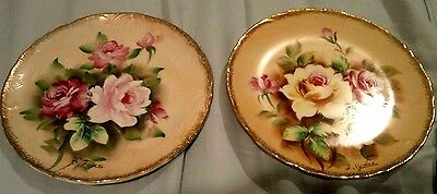 """2 Hand Painted Roses 8-1/4"""" Porcelain Plate Sponged GOLD Edge BOTH SIGNED"""