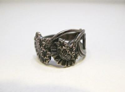 TH MARTHINSEN NORWAY EPNS STERLING SILVER FLORAL SPOON Ring - SIZE 5
