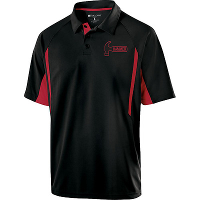 Hammer Men's Reaper Performance Polo Bowling Shirt Black Red Dri-Fit Comfort